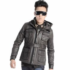 Designer Gray Grey Hooded Belted Punk Fashion Trench Coats Jackets Men SKU-11401466