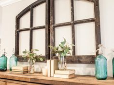Books are always a great decor option. And the great part about this design is that the titles don't even matter. Simply pick up a few well-loved books at your local flea market and display proudly for an instant shabby-chic effect.
