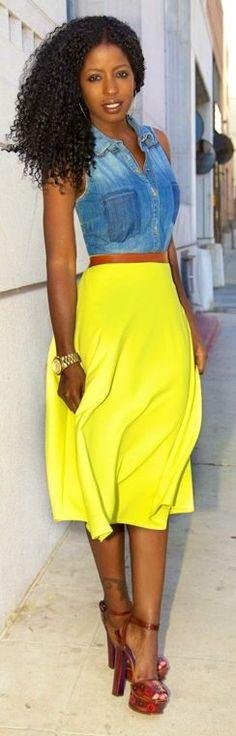 Boohoo Neon Yellow Full Circle Midi Skirt by Style Pantry
