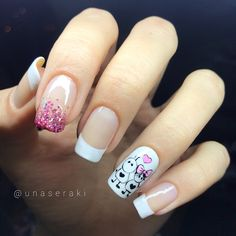 Natural Nail Designs, Cute Nail Designs, Aycrlic Nails, Nail Manicure, Cute Pink Nails, Pretty Nails, Sponge Nail Art, Unicorn Nails, French Tip Nails