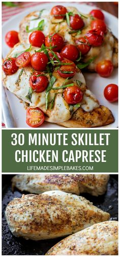 This 30 minute skillet chicken caprese is the perfect weeknight meal. It's quick, easy and delicious! Weeknight Meals, Easy Meals, Herb Roasted Chicken, Pecan Chicken, 30 Minute Dinners, How To Make Pesto, Caprese Chicken, Skillet Chicken, Pasta Dishes
