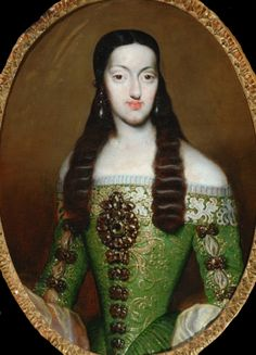 Marie Louise of Orleans, Queen of Spain. consort of Charles II, by Jose Garcia Hidalgo, ca 1682 Spain, the Bowes Museum Fashion History, Fashion Art, 17th Century Fashion, Spanish Art, Spanish Fashion, Historical Clothing, Female Clothing, Historical Dress, Historical Art