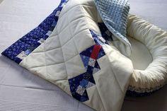 Detská patchworková deka s modrotlačou