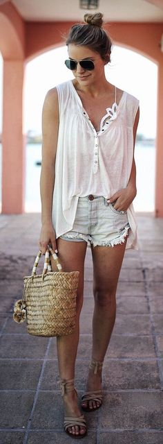 #spring #outfits  White Top & Bleached Denim Short & Beach Tote Bag