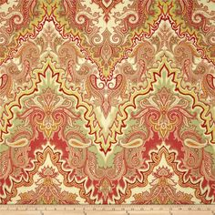 Waverly Paisley Verse Slub Crimson from @fabricdotcom  Screen printed on cotton duck; this versatile, medium weight fabric is perfect for window accents (draperies, valances, curtains and swags), accent pillows, duvet covers, upholstery and other home decor accents. Create handbags, tote bags, aprons and more. Colors include sage, tan, ivory, maize, red and rouge. This fabric has 18,000 double rubs.