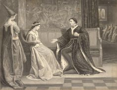KATHERINE OF VALOIS (b.1401-d.1437). QUEEN CONSORT OF HENRY V from 2nd June, 1420 until her husband's death on 31st August, 1422. HOUSE OF LANCASTER. PICTURE: The first meeting of Katherine of Valois and Henry V.