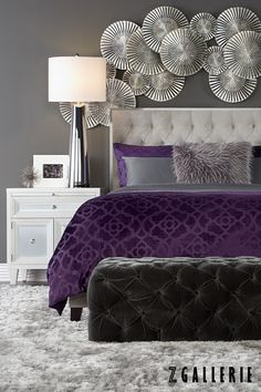Take 15% off on everything for your home, from A to Z! Shop in stores or online on zgallerie.com through 10.27.2015. Purple Gray Bedroom, Silver Bedroom, Purple Rooms, Purple Velvet, Mirrored Furniture, Dream Home Design, Home Interior Design, House Design, Living Room Decor