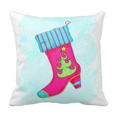 Shop Fuchsia Turquoise Christmas Stocking Decorative Throw Pillow created by phyllisdobbs. Christmas Pillow, Christmas Home, Christmas Stockings, Green Christmas, Turquoise Painting, Pink Turquoise, Turquoise Throw Pillows, Turquoise Christmas, Pink Stripes