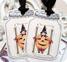 NEW  Vintage Halloween Pumpkin Wtich Mason by LittlePaperFarmhouse, $5.95