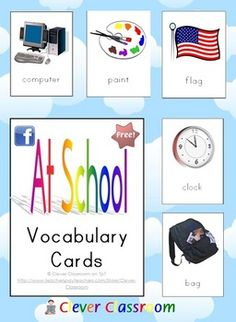 FREE At School Vocabulary Cards - PDF file9 page resource, designed by Clever Classroom.Vocabulary building cards about school.Bold pictures...