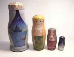 「人魚姫」をモチーフにしたマトリョーシカです。|ハンドメイド、手作り、手仕事品の通販・販売・購入ならCreema。