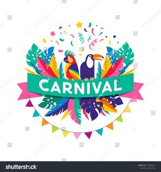 Brazilian Carnival poster, banner with colorful party elements - masks, confetti, toucan, parrot and splashes. Caribbean Theme Party, Rio Carnival Costumes, Carnival Posters, Carnival Festival, Banner, Colorful Party, Christmas Costumes, Festivals, Diy Costumes