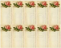 Great little tags for journaling in your mini albums Shabby Chic Pretty in Pink collage sheet for scrapbook and cards  DC670