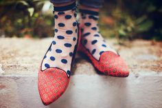Sea of Shoes, loafers and polka dot socks Polka Dot Socks, Polka Dot Shirt, Red Shoes, Sock Shoes, Socks And Sandals, White Leather, Rubber Rain Boots, Your Hair, Cute Outfits