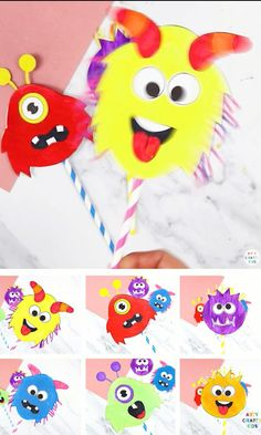 A fun, friendly and easy paper monster toy craft for kids - A Halloween Craft kids will love! Children will have a great time using their imaginations to create funny, silly monster faces and, once they've crafted their spinners, there's hours of fun to be had. They can be used as puppets for storytelling or as a monster fairy wand, and they also make brilliant homemade fidget spinners. Fall Crafts For Toddlers, Christmas Crafts For Kids To Make, Craft Kids, Halloween Crafts For Kids, Paper Crafts For Kids, Toy Craft, Preschool Crafts, Fun Crafts, Funny Crafts For Kids