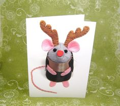 Rudolf Christmas Card  cute mouse mice rat by TheHouseOfMouse, 4.00