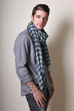 Men's Classic Cambridge Checkered Plaid Scarf - www.AnikaDali.com (Unique Gift Ideas. For Him. Men's Fashion Scarves.) #ANIKADALI