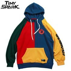 Hip Hop Hoodie Sweatshirt Mens Color Block Patchwork Harajuku Hoodie Streetwear Casual HipHop Pullover Oversized… #Discounts #BestPrice