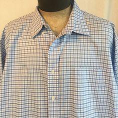 DANIEL CREMIEUX Shirt Sz 3X Definitive Classic Fit Cotton Blue White Plaid #DanielCremieux #ButtonFront