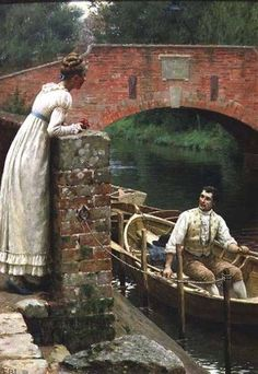 "This painting depicts a Regency era couple but is reminiscent of the artist's work titled ""Godspeed."" Edmund Blair Leighton (1853 – 1922, English)"