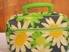 Mod Floral Micro Mini Suitcase Handbag Shabby Chic Decor Lime Green Black White Yellow Collectible Child's Suitcase in very good condition - http://oleantravel.com/mod-floral-micro-mini-suitcase-handbag-shabby-chic-decor-lime-green-black-white-yellow-collectible-childs-suitcase-in-very-good-condition