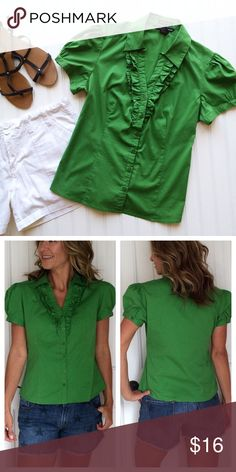 "Antilia Femme Kelly Blouse Antilia Femme Kelly Blouse | size L, cotton/nylon/spandex | v-neck button front blouse with ruffled bodice | puff sleeves with buttoned cuff | princess seaming; fabric has stretch | pair it with everything from jeans to pencil skirts! . EUC, no flaws . 21"" UA to UA 23"" length Antilia Femme Tops Blouses"