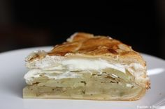 """""""Pâté aux pommes de terre"""" (potatoe pie), an fantastic recipe from the center of France (Auvergne, Bourbonnais). Here recipe is written in french but it's really simple : sliced potatoes between 2 puff pastries in the oven, add cream when it's still hot"""