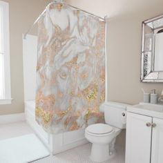 #gold - #Modern Faux Rose Gold Marble Swirl Chic Shower Curtain