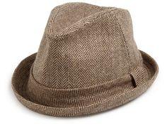 Brown Herringbone Tweed Fedora
