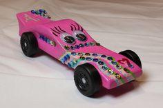 Pink pinewood derby car