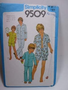 Boys Pajama Pattern Size 6 and 8 Short or Long pants sleeves by BonniesVintageAttic