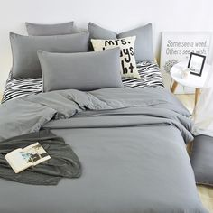 UNIKEA Summer Home bedding sets Zebra bed sheet and gray duver quilt cover pillowcase soft and comfortable King Queen Full Twin