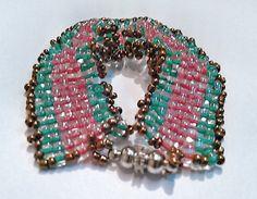 Girl's Beadwork Bracelet   Fushia and Turquoise Seed by DuMoments