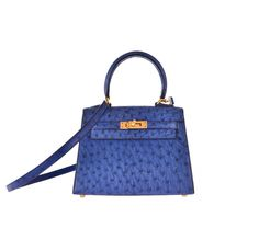 Hermes Kelly 20cm Ostrich Blue Sapphire with Gold Hardware