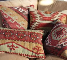 kilim pillows: These are great looking. I bought large kilim pillows for my new sofas but they are very itchy to lean against and they actually scratch the leather sofas. Pillow Room, Pillow Set, Pillow Covers, Pillow Talk, Kilm Pillows, Throw Pillows, Cushions, Brown Leather Chairs, Leather Sofas