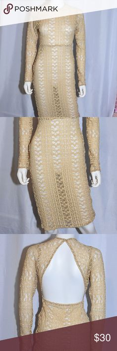 Sheer stretch lace pencil dress - Sand color Stretch knitted pencil sheer  dress - Hips - 0080512ea423b