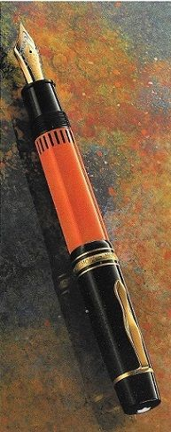 Hemingway, Writers Edition 1992 The coral red and dark brown reminiscent of a Montblanc fountain pen from the 1930s – the decade in which Hemingway celebrated his earliest success. The cap, with its gold-plated mountings and classical, gold-plated clip, bears the engraved signature of the writer. Rhodium-platings and an artistic engraving of a motif from Hemingway's period decorate the hand-cut 18-karat gold nib.