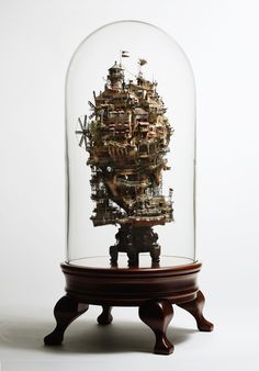 The Japanese fine art of raising bonsai trees is a beautiful traditional way to infuse some greenery into your indoor space. But artist Takanori Aiba takes the art to a new level, with his intricately amazing series of bonsai castles. Fantasy Town, Fantasy Art, Sculpture Art, Sculptures, Mini Mundo, Bonsai Art, Bonsai Trees, Weird Pictures, Japanese Artists