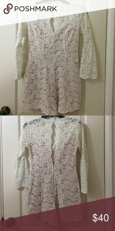 Runway Lauren Conrad white lace romper Size small ... romper was hemmed ...does not have tag. Used once LC Lauren Conrad Dresses Mini