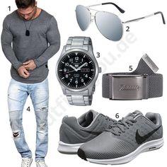 low priced a7d2a ed1e5 Graues Herrenoutfit mit Longsleeve, Nike s und Brille Stadsmode, Hörnskåp  Garderob, Arbetskläder, Män