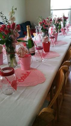 Lovely Valentine's Day party table! See more party planning ideas at CatchMyParty.com!