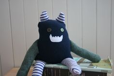 stuffed monster, upcycled stuffed animal, OOAK. $25.00, via Etsy. I want this for Ryker's room so bad :)