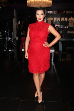 Look-For-Less-Kim-Kimardashians-Mirage-Hotel-Glam-Fragrance-Launch-Red-Valentino-Lace-Dress