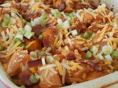 Buffalo chicken potato bake - Drizzle Me Skinny!Drizzle Me Skinny! Ww Recipes, Light Recipes, Cooking Recipes, Healthy Recipes, Skinny Recipes, Recipies, Spicy Baked Chicken, Spicy Chicken Recipes, Healthy Chicken