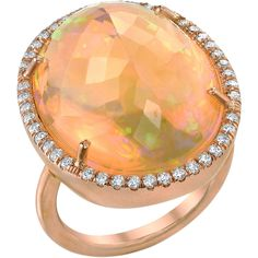 Irene Neuwirth Mexican Fire Opal & Diamond Ring
