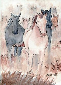 ACEO Original Painting Runaway Horses animals stampede equestrian wild hoofs #Impressionism