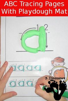 New FREE ABC Lowercase Tracing Pages with Playdough Mats: 2 types of tracing outline and dotted letter - 3Dinosaurs.com