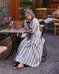 """Hijab House on Instagram: """"@nawalsari looking like a European summer dream; wearing the hideout dress. Available instore and online."""" Modest Fashion Hijab, Stylish Hijab, Modern Hijab Fashion, Muslim Women Fashion, Hijab Chic, Abaya Fashion, Fashion Outfits, Modern Abaya, Hijab Dress"""