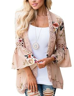 210682bc62 Halife Womens Bohemian Puff Sleeve Kimono Cardigans Casual Coverup Tops  Outwear Khaki