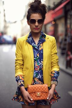 Yellow blazer looks fantastic with this vintage floral dress.  Be Frassy